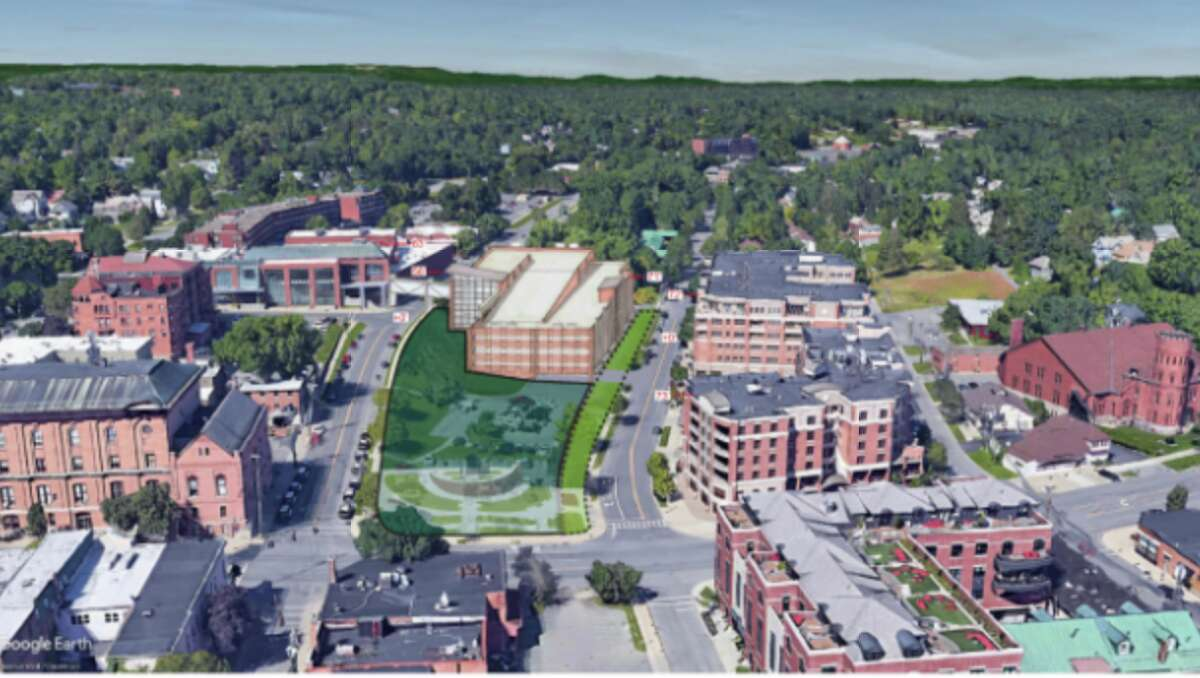 A bird's eye view of the parking garage, looking north.
