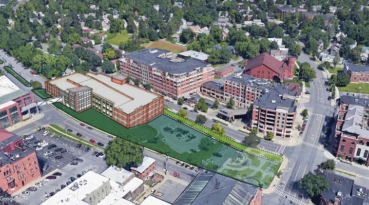 An aerial view of the parking garage looking east.