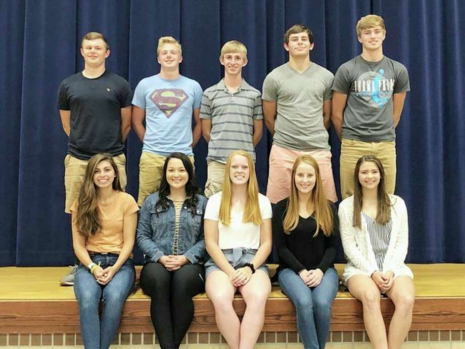 The Bad Axe High School homecoming king and queen candidates include: back row,Lane Weitenberner, Connor Janssen, Eli Buss, Jack Clancy, and Cody Talaski; andfront row,Jelena Prescott, Haley Miller, Laken Chapin, Amanda Nugent, and Eva Engel. (Submitted Photo)