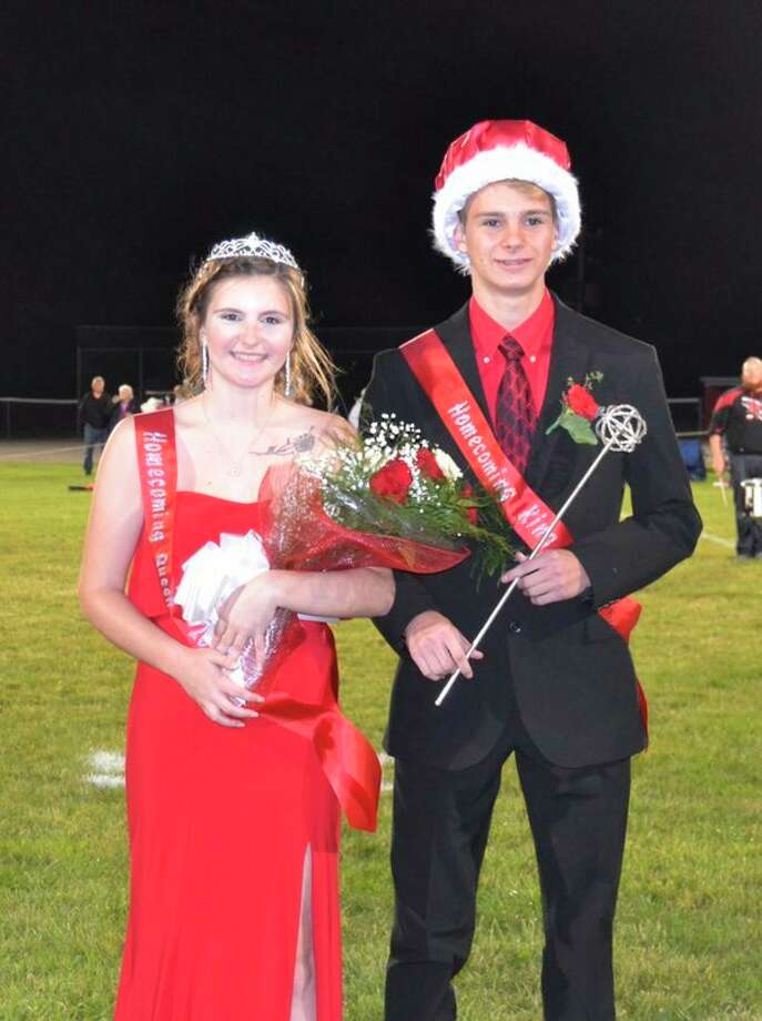 Owen-Gage 2019 homecoming Queen Kaitlyn LaCroix and King Chase Howard pose for a photo after being crowned during Friday's homecoming game. (Submitted Photo)