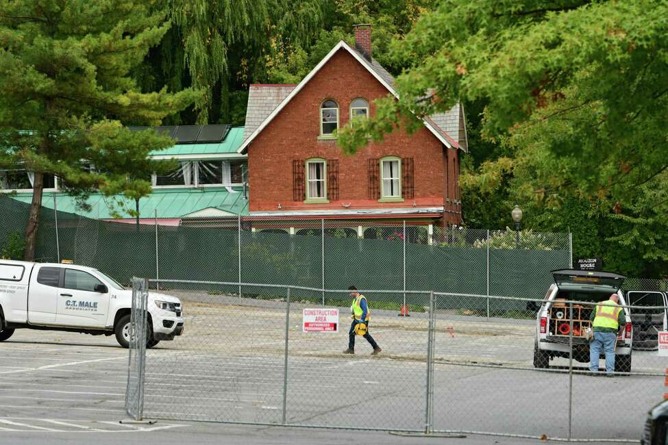 Construction on a parking garage near Lake and High Rock Avenues is underway on Monday, Sept. 30, 2019 in Saratoga Springs, N.Y. The Mouzon House is seen in background. (Lori Van Buren/Times Union)