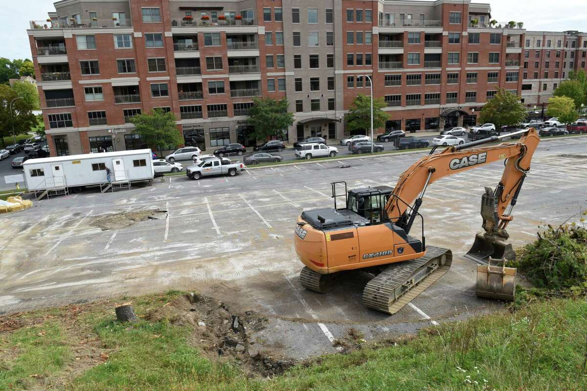 Construction on a parking garage near Lake and High Rock Avenues is underway on Monday, Sept. 30, 2019 in Saratoga Springs, N.Y. (Lori Van Buren/Times Union)
