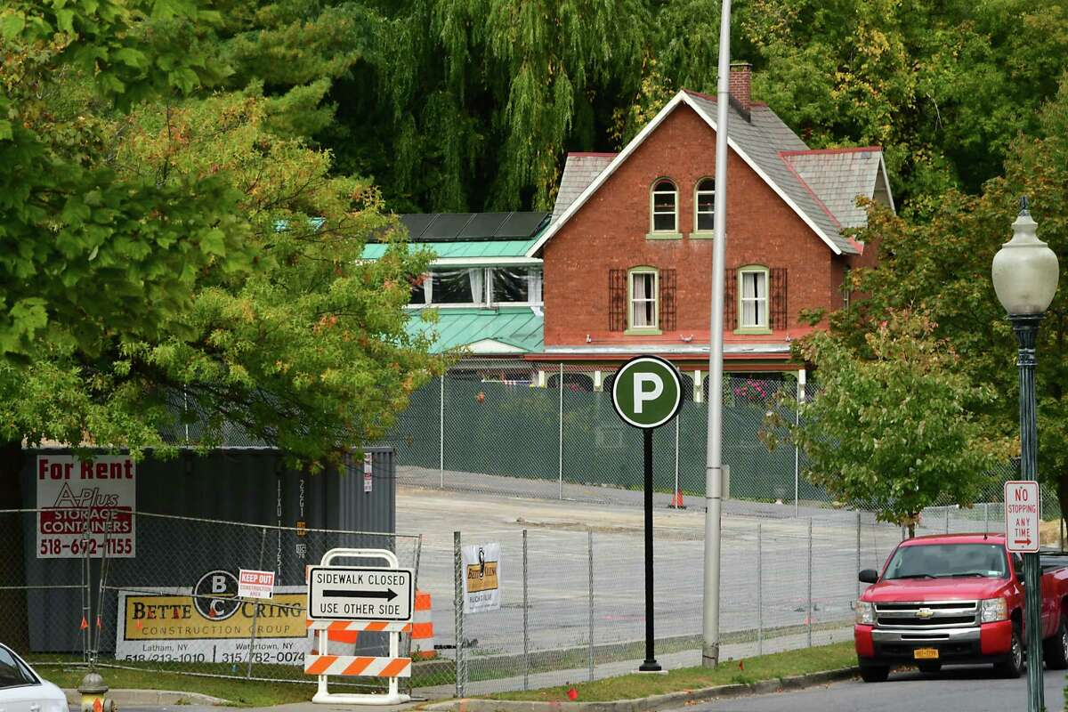 Construction on a parking garage near Lake and High Rock Avenues is underway on Monday, Sept. 30, 2019 in Saratoga Springs, N.Y. The Mouzon House is seen in the background. (Lori Van Buren/Times Union)