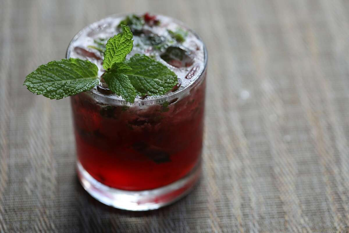 Summer cherry julep served at Greens on Thursday, Sept. 26, 2019, in San Francisco, Calif. Greens, a longstanding vegetarian restaurant is commemorating its 40-year anniversary this year
