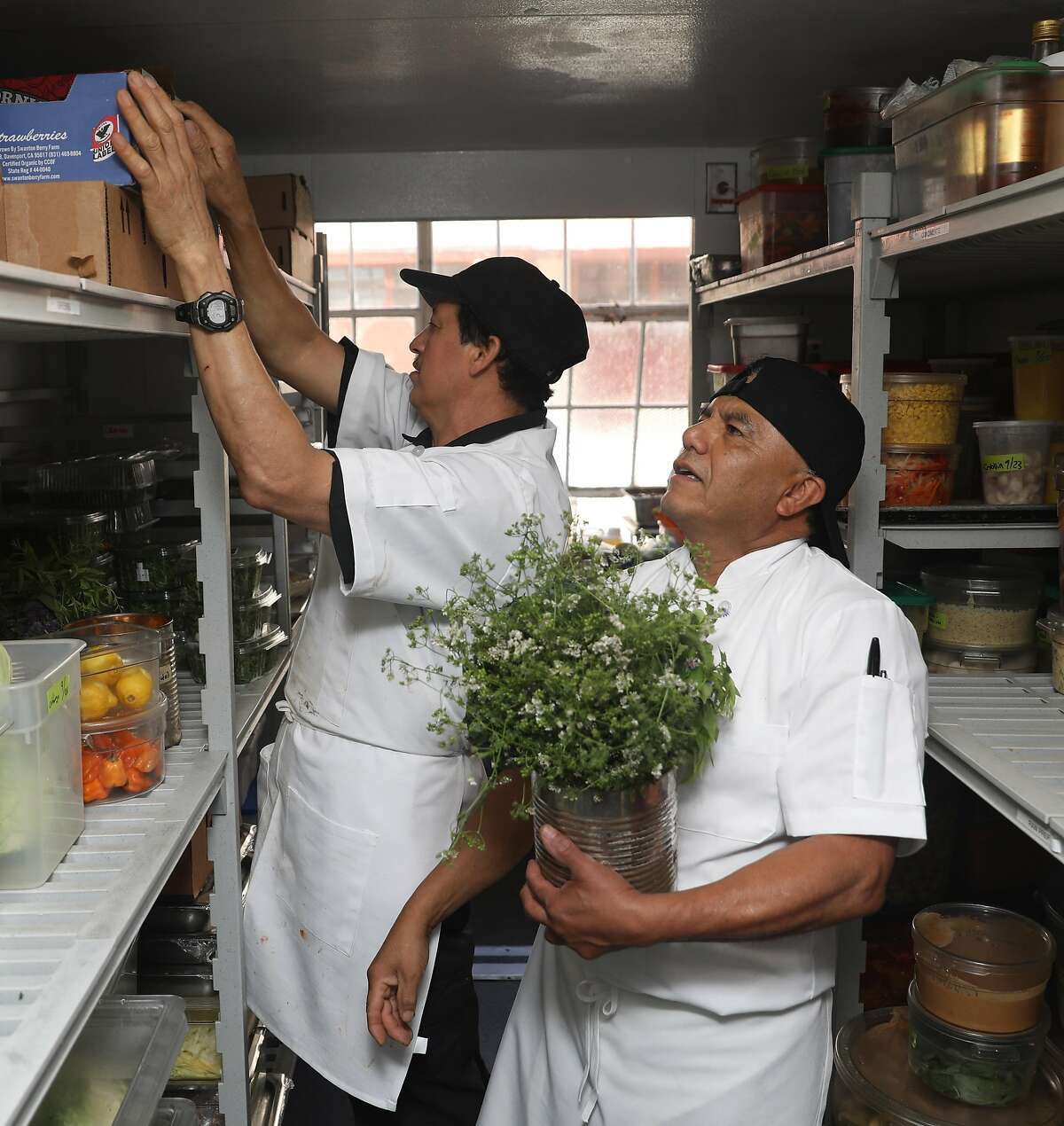 Prep cook Edgar Tolico (right) who has worked for 26 years at Greens walks into the refrigerator with herbs on Thursday, Sept. 26, 2019, in San Francisco, Calif. Greens, a longstanding vegetarian restaurant is commemorating its 40-year anniversary this year.