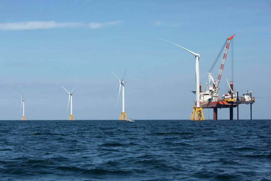 Wind turbines from the Deepwater Wind off Block Island, R.I., Monday, Aug. 15, 2016. Massachusetts-based Vineyard Winds is vying for a similar project for Connecticut as the state looks to boost its wind energy inventory. (AP Photo/Michael Dwyer) Photo: Michael Dwyer / Associated Press / Copyright 2019 The Associated Press. All rights reserved.