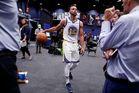Golden State Warriors' Stephen Curry during media day at Chase Center in San Francisco, Calif., on Monday, September 30, 2019.