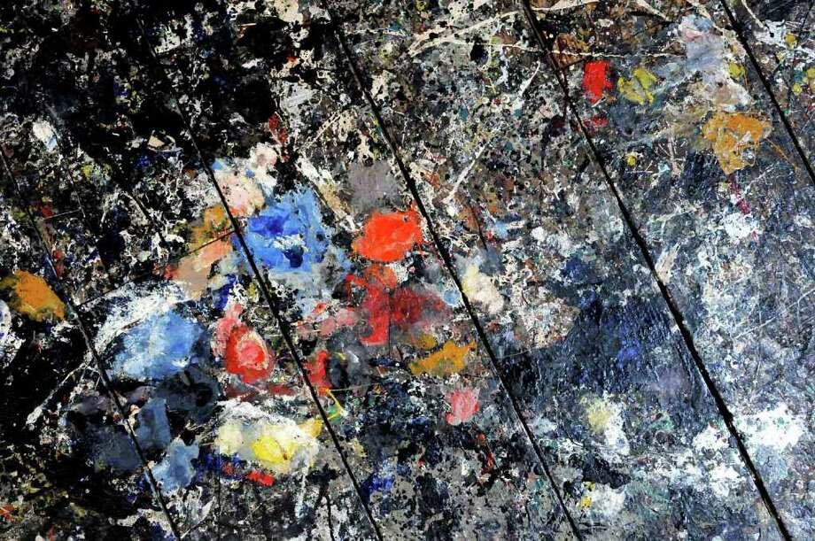 The splatter covered floor of painter Jackson pollock's studio at the Pollock-Krasner House and Study Center in East Hampton,New York7/21/2010. ( Michael P. Farrell / Times Union ) Photo: MICHAEL P. FARRELL