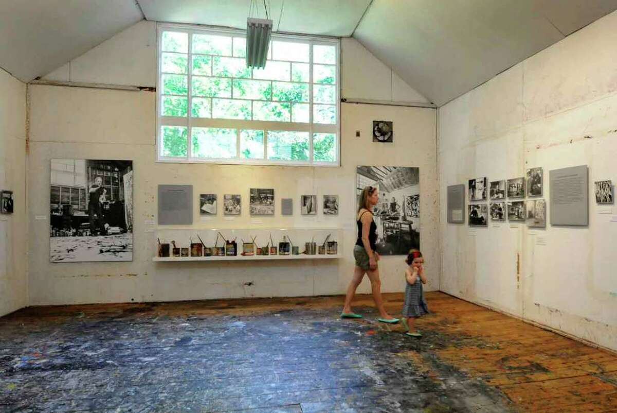 The painting studio of Jackson Pollock with splatter covered floor at the Pollock-Krasner House and Study Center in East Hampton,New York7/21/2010. ( Michael P. Farrell / Times Union )