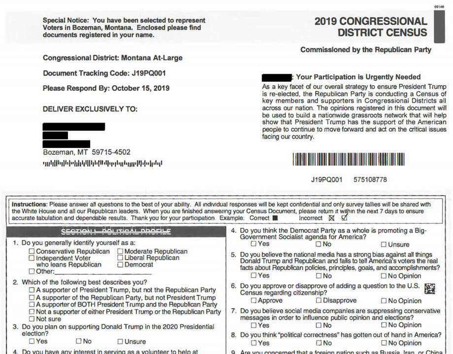 """An """"imitation Census"""" mailer from the Republican National Committee solicits money for President Trump's reelection."""