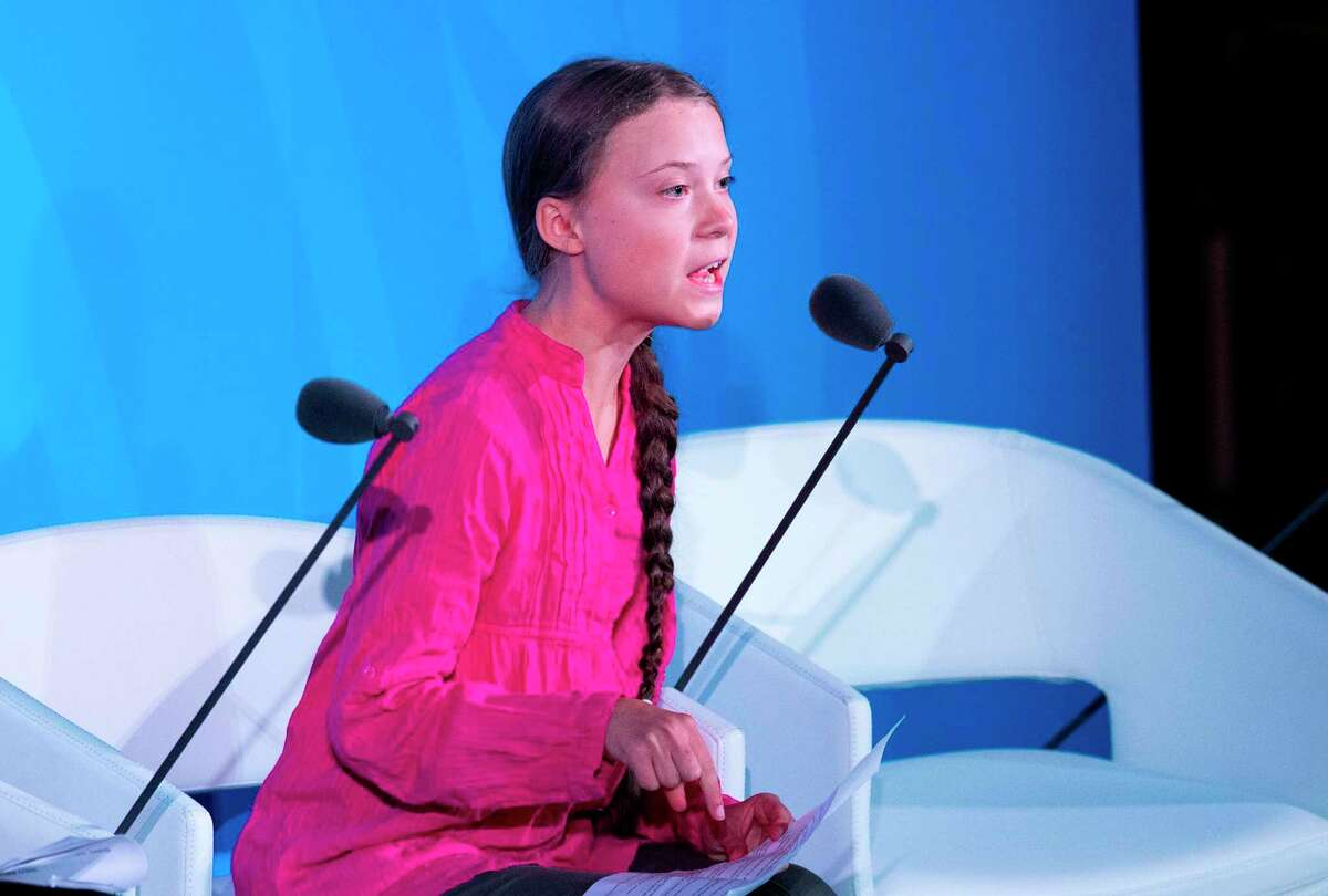 Youth Climate activist Greta Thunberg speaks during the UN Climate Action Summit on Sept. 23, 2019 at the United Nations Headquarters in New York City.