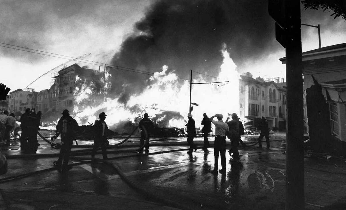 The 1989 Loma Prieta earthquake collapsed buildings in San Francisco's Marina and burned homes at Beach and Divisadero streets.