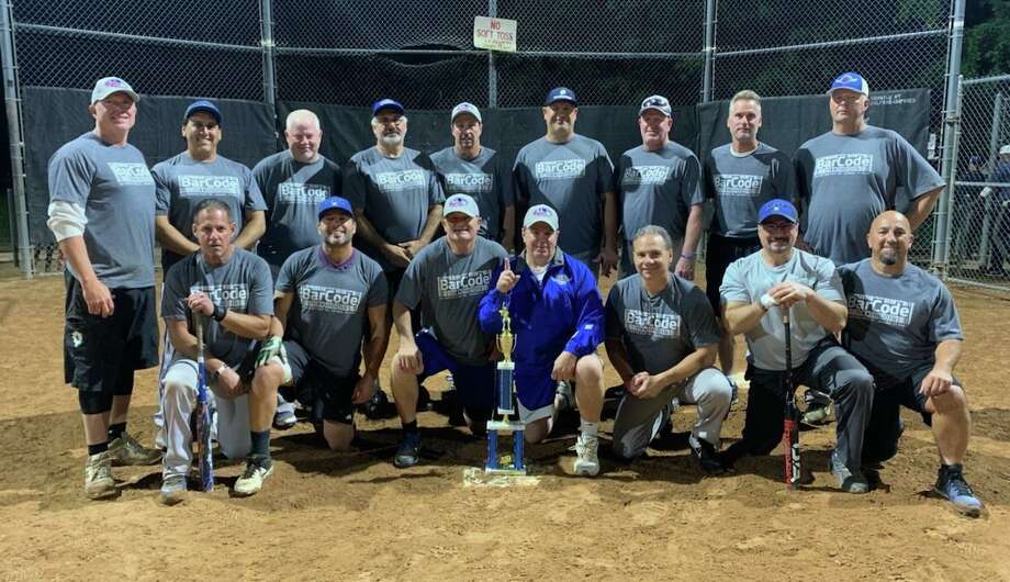 Bar Code Restaurant/Conn 15 Screen Printing defeated Johnny's Auto, 32-21, to win the Men's Over 50 Softball Tier 1 Post Season playoff championship. Team members (front row) Ken Dibble, Joe Bacco, Mark Willey, Peter Latella, Richie Maurie, Jim Caterbone and Bruce Gianotti; (second row) Keith Anderson, Anthony Passaniti, Frank Gargano, Bobby Dulin, Mike Fanara, Steve Steransak, Tom Hodges, Bill Saley and Bubba Rudolph. Missing from the photo are Mike Violano and John Gustafson. Photo: Contributed Photo / Milford Rec. Dept. / Milford Mirror