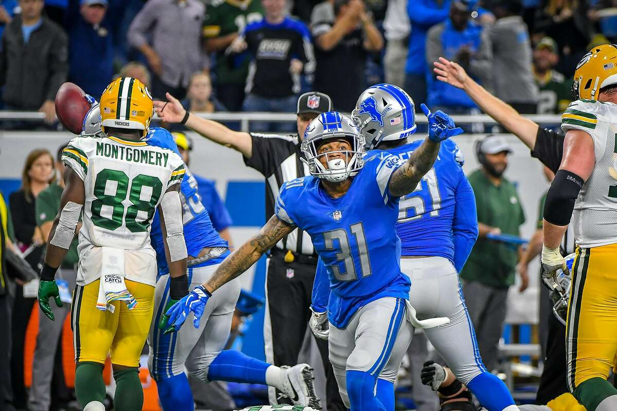 DETROIT, MI - OCTOBER 07: Detroit Lions cornerback Teez Tabor (31) celebrates a fumble recovery during the Detroit Lions game versus the Green Bay Packers on Sunday October 7, 2018 at Ford Field in Detroit, MI. (Photo by Steven King/Icon Sportswire via Getty Images)