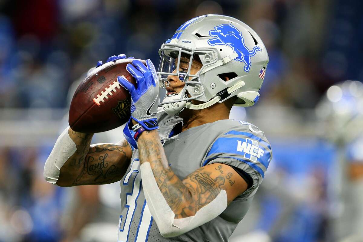 Detroit Lions cornerback Teez Tabor (31) catches the ball during warmups before the first half of an NFL football game against the Carolina Panthers in Detroit, Michigan USA, on Sunday, November 18, 2018. (Photo by Amy Lemus/NurPhoto via Getty Images)