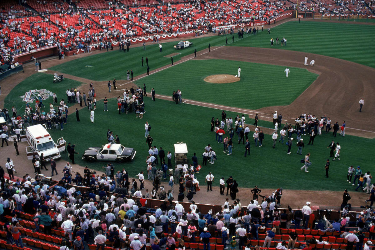 General view of the crowds in Candlestick Park after an earthquake rocks game three of the World Series between the Oakland A's and San Francisco Giants at Candlestick Park on October 17, 1989.