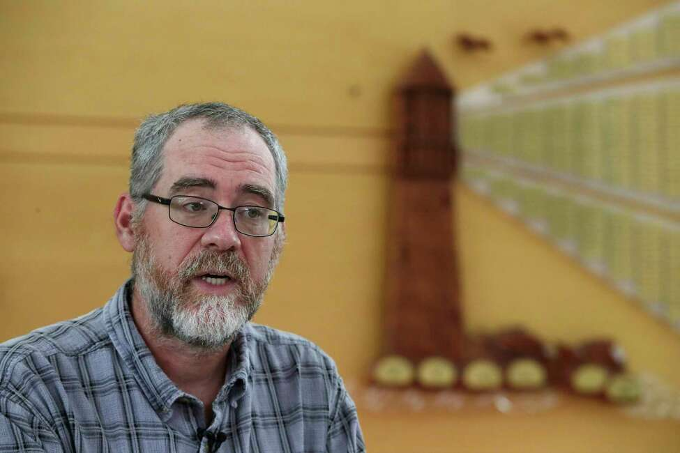 In this Aug. 21, 2019 photo, instructor Chris Powicki speaks during an interview at Cape Cod Community College in West Barnstable, Mass. Powicki's Offshore Wind 101 classes have drawn nuclear and marina workers, engineers, young people and others hoping for good-paying wind jobs as an alternative to tourism jobs. But as Trump has made clear how much he hates wind turbines, all the offshore wind projects, including the nation's first utility-scale offshore wind project, an 84 turbine, $2.8 billion wind farm slated to rise 15 miles off Martha's Vineyard, have stalled. (AP Photo/Elise Amendola)