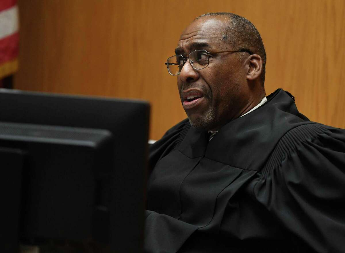 Judge Barry Stevens questions attorneys for the plaintiffs and defense before denying a motion to dismiss a lawsuit to overturn the recent Bridgeport Mayoral Primary in Superior Court in Bridgeport, Conn. on Monday, September 30, 2019.