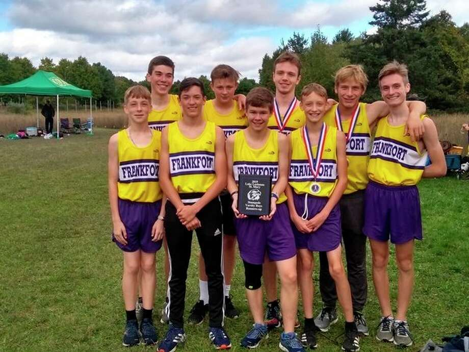 Frankfort's boys cross country team celebrates a runner-up finish at the Lake Leelanau St. Mary Invitational. (Courtesy photo)