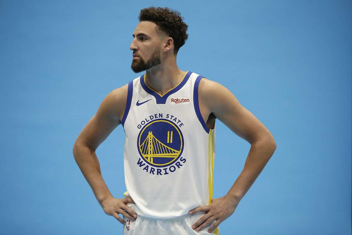 Golden State Warriors' Klay Thompson during the NBA basketball team's media day in San Francisco on Monday, Sept. 30, 2019.