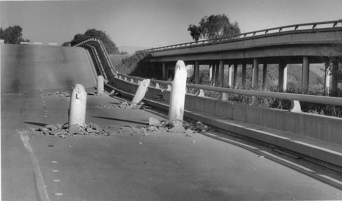 A portion of Highway 1 collapsed during the Loma Prieta earthquake, October 18, 1989.