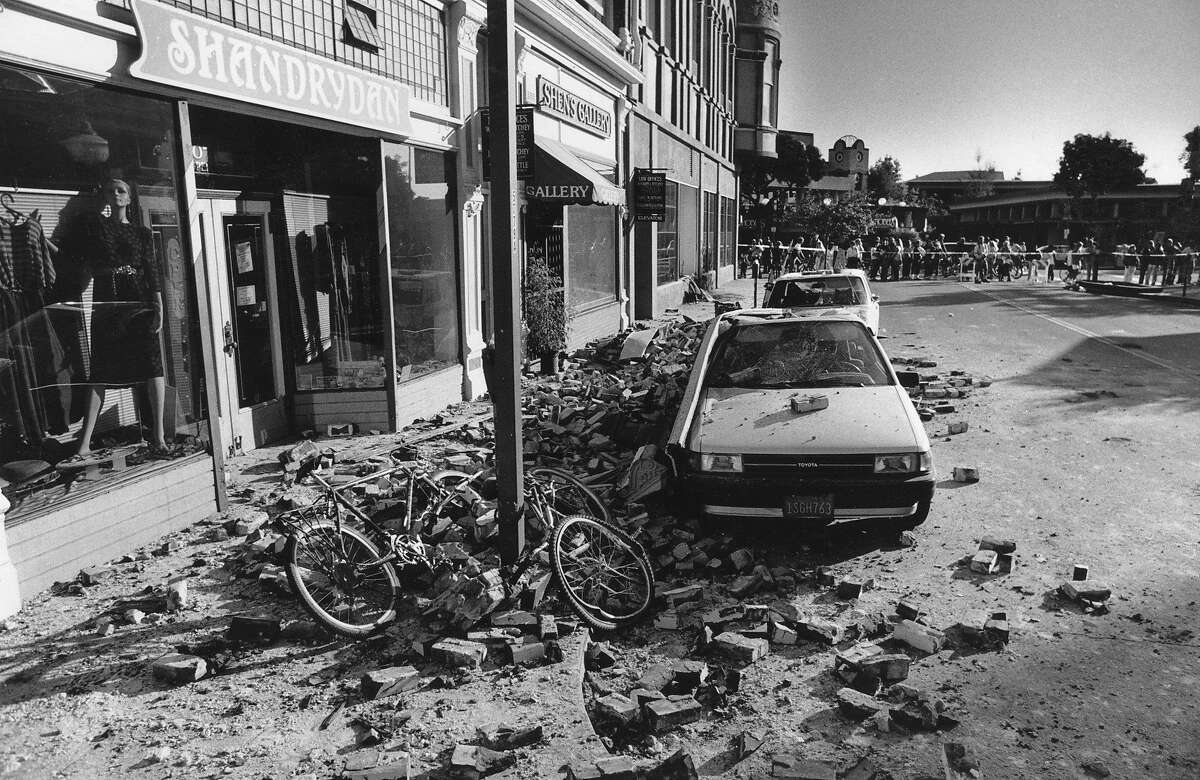 Downtown Santa Cruz was severely damaged as seen here the day after the the Loma Prieta earthquake, October 23, 1989.
