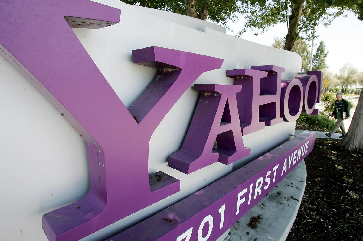 A sign outside Yahoo headquarters in Sunnyvale, Calif. is seen Wednesday, July 2, 2008. The company reached a settlement to pay customers $117.5 million for two data breaches, one in 2013 and one in 2014. >>Continue clicking or swiping through the slideshow to see other big data breaches and cyberattacks that same year>>