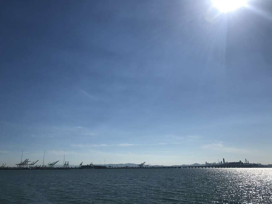 The skyline from the Emeryville Marina and Park, where I hitched a ride on the Pacific Pearl. Photo: Ryan Kost / The Chronicle