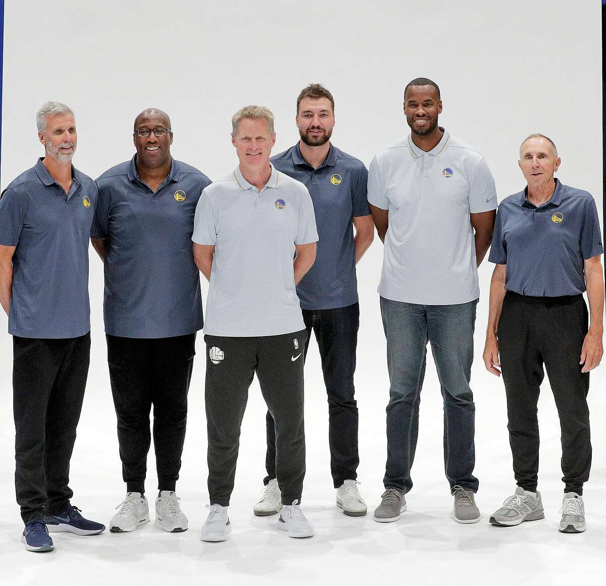 Golden State Warriors coaching staff during media day for the Golden State Warriors at Chase Arena in San Francisco, Calif., on Monday, September 30, 2019.