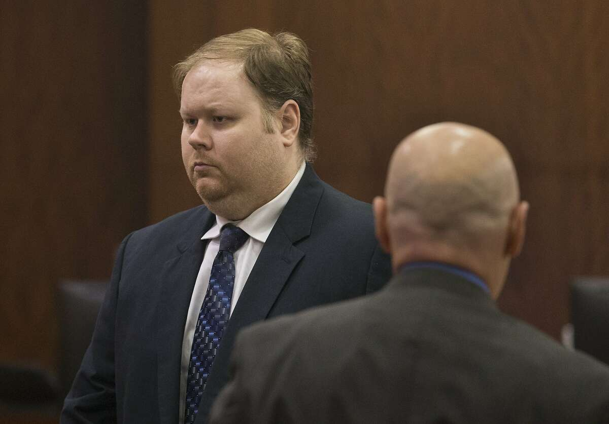 Ronald Haskell leaves the court room during a break of the punishment phase of his capital murder trial on Monday, Sept. 30, 2019, in Houston. Haskell was found guilty of killing six members of his ex-wife's family in 2014.