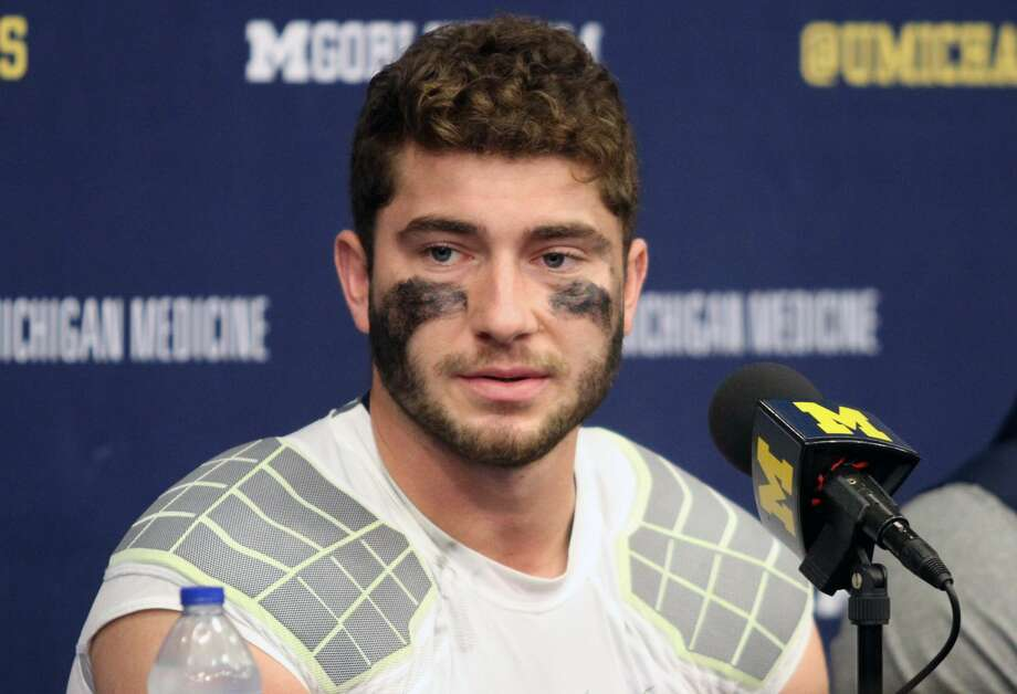 Michigan QB Shea Patterson addresses the media after his four touchdown performance against Rutgers on Saturday, Sept. 28. Photo: Eric Rutter/Huron Daily Tribune