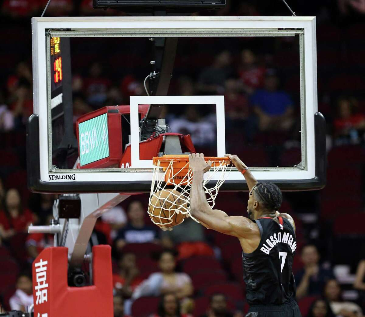The Rockets had no trouble getting high-percentage shots Monday night, including a fourth-quarter dunk by Jaron Blossomgame.