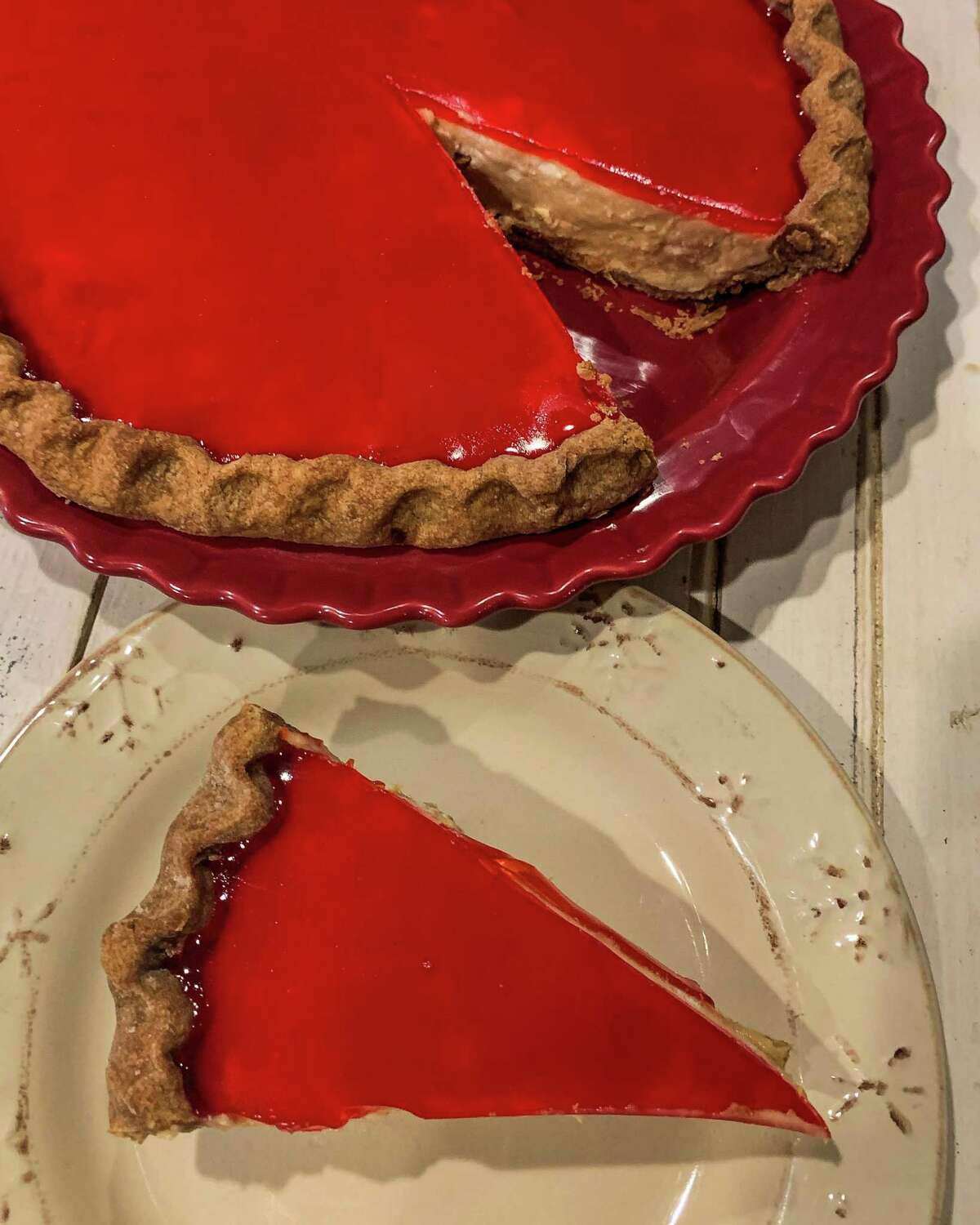 Peanut Butter Chiffon Pie with Mesquite Crust and Prickly Pear Jelly Glaze