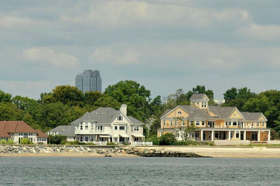 Stamford, Conn., homes on Shippan Point can be seen on the shore of the Long Island Sound Stamford, Conn., on Thursday, Aug. 27, 2015. Photo: Jason Rearick / Hearst Connecticut Media / Stamford Advocate