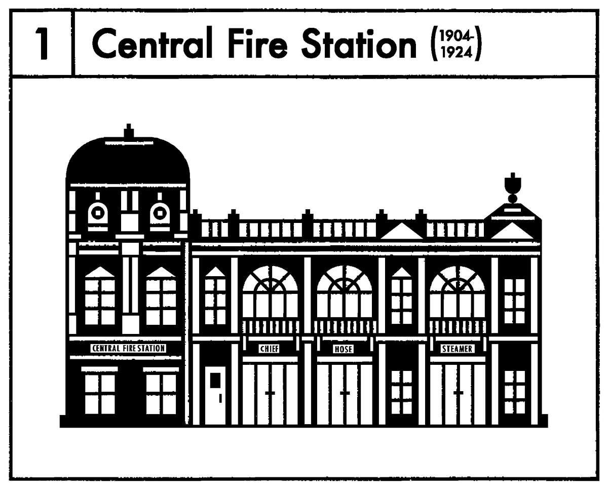 Central Fire Station Years it stood: 1904 through 1924 Montreal-based illustrator Raymond Biesingeristhe artist behind the series.