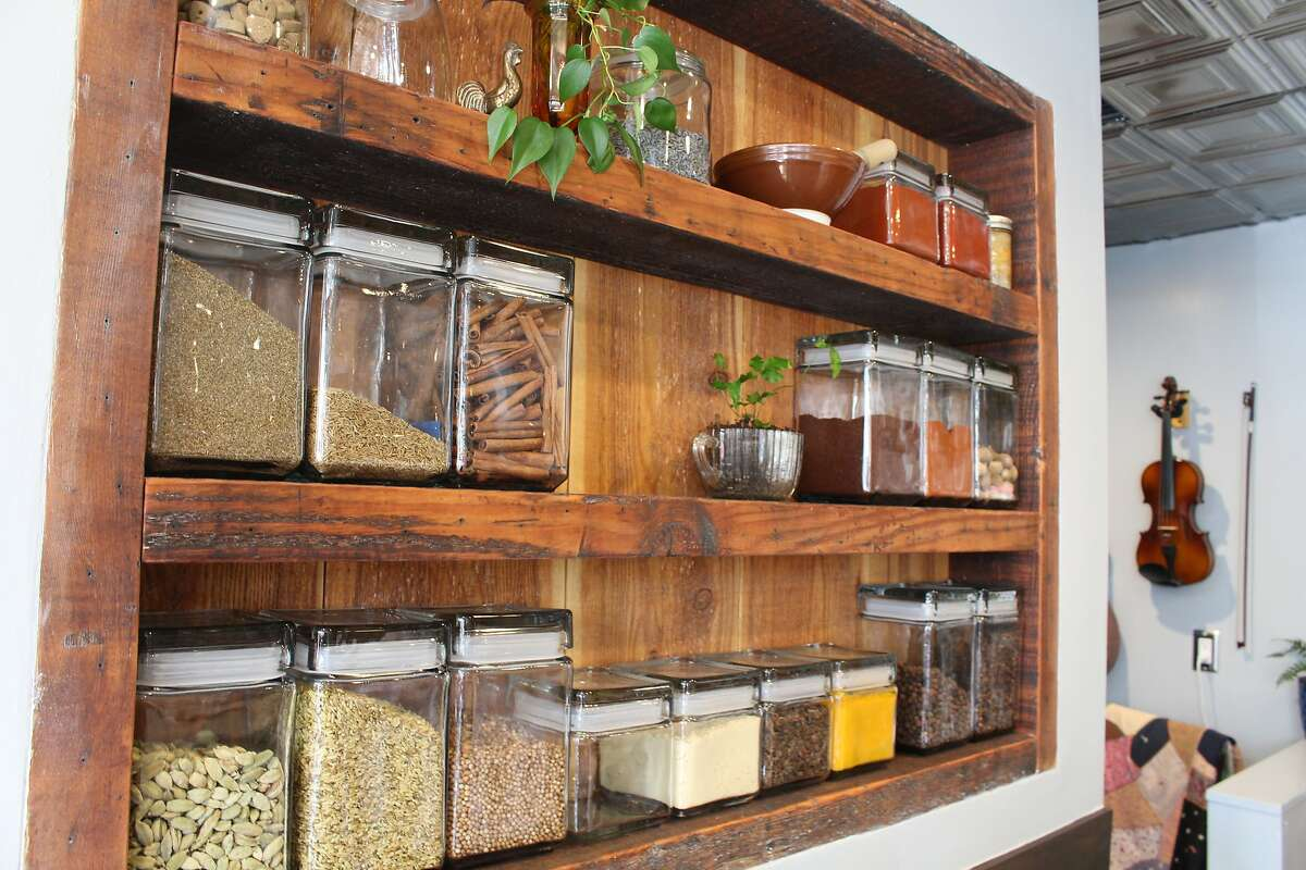 Family displays the many spices it uses for Japanese curry.
