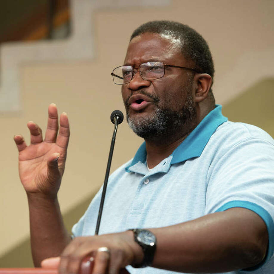 Dr. Anthony Cheeseboro speaks Monday at the 1619 Commemoration at Southern Illinois University Edwardsville. Related events are planned through Thursday at SIUE.