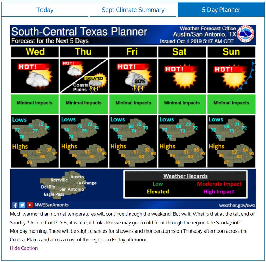 October has arrived with warm temperatures. But for those looking for any sign of fall, a cold front is in San Antonio's future, according to the National Weather Service. Photo: National Weather Service