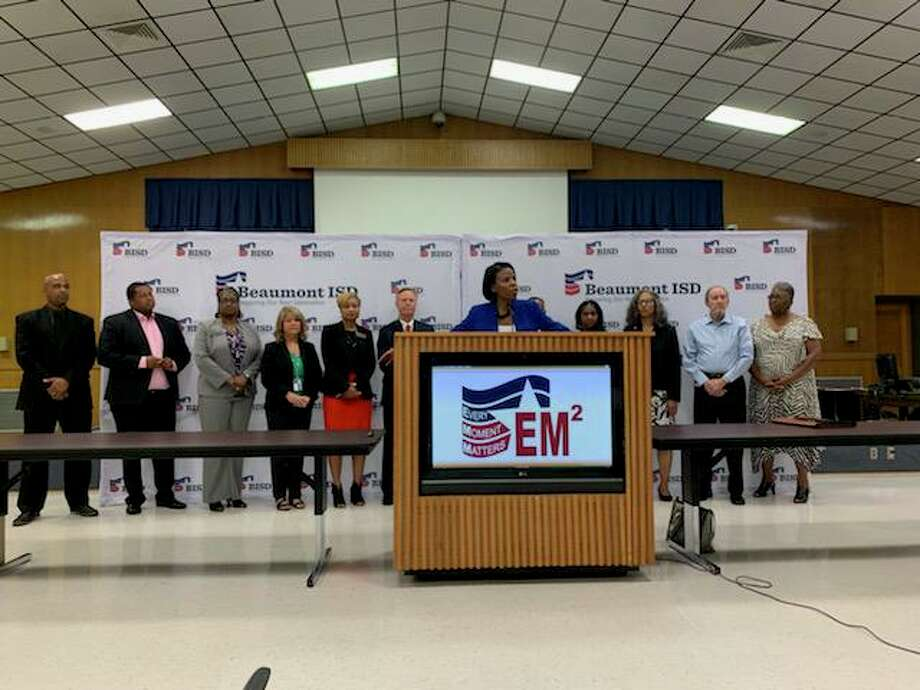 Beaumont ISD officials give an update on the schools and a timeline on repairs following Imelda. Photo taken Oct. 1, 2019. Photo: Isaac Windes/The Enterprise