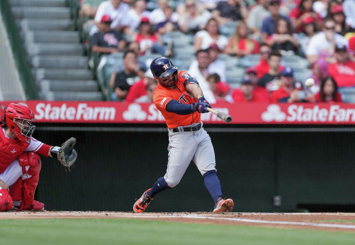 ANAHEIM, CALIFORNIA - SEPTEMBER 29: Jose Altuve #27 of the Houston Astros hits a double in the first inning against the Los Angeles Angels of Anaheim at Angel Stadium of Anaheim on September 29, 2019 in Anaheim, California. (Photo by Kent Horner/Getty Images)