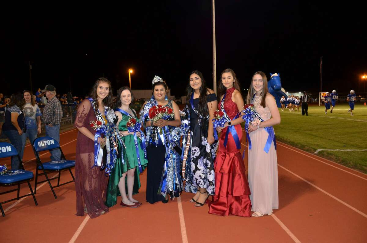 Left to right - Daniela Sanchez, Sophomore; Kathryn Brightbill, Senior; Homecoming Queen Giselle Gomez, Junior; Esmeralda Polanco, Senior; Maria Kennedy, Junior; and Olivia Cox, Freshman.