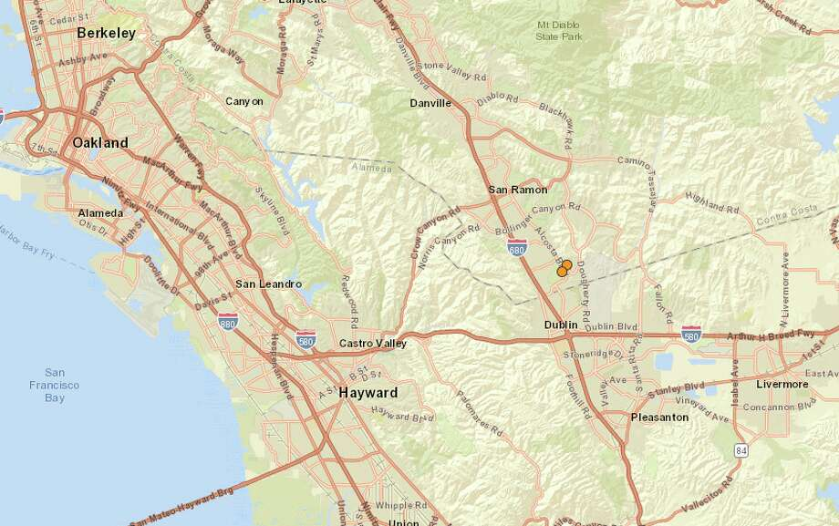 A series of small earthquakes rattled an area 2.5 miles north of Dublin on Monday and Sunday, according to the U.S. Geological Survey. Photo: USGS
