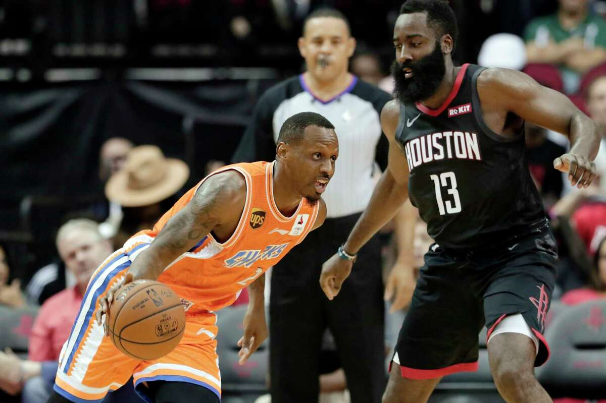 Rockets star James Harden showed off a one-legged 3-pointer during Monday's exhibition game against the Shanghai Sharks.