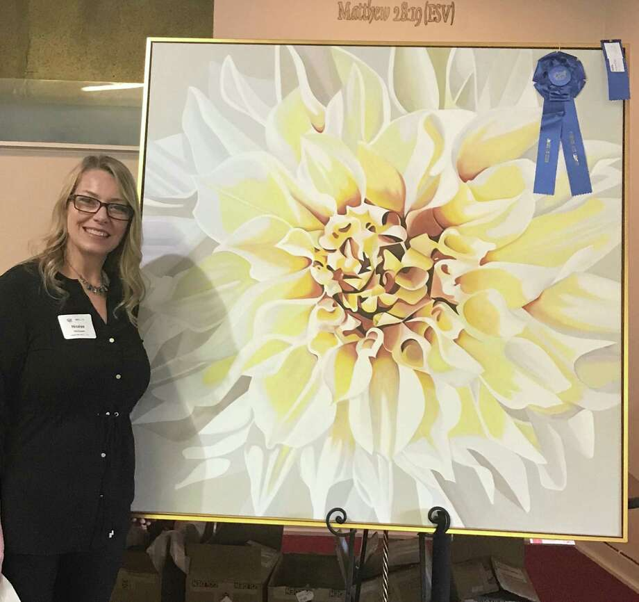 Best of Show in the Conroe Art League 2019 Fall Show was awarded to Nicolee McCowen with her acrylic painting Dahlia. Photo: Courtesy Photo