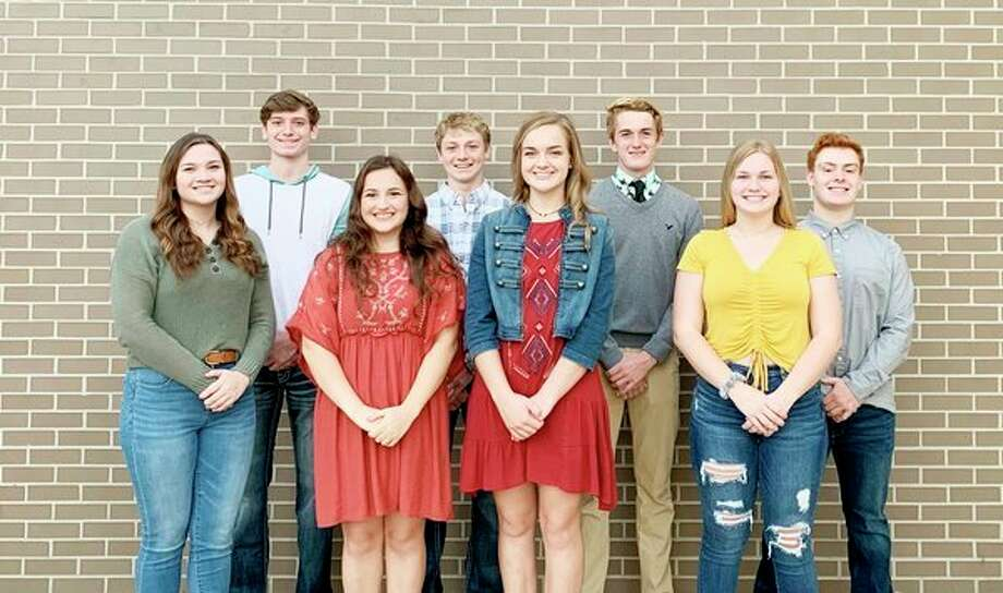 Senior court members include: front row, Bailey VanValkenburgh, Kaylee Maust, Emma Irion and Angel Stump; back row, Jax McCabe, Bryce Sears, Joshua Swathwood and Jared Reiter. (Submitted to the Tribune)