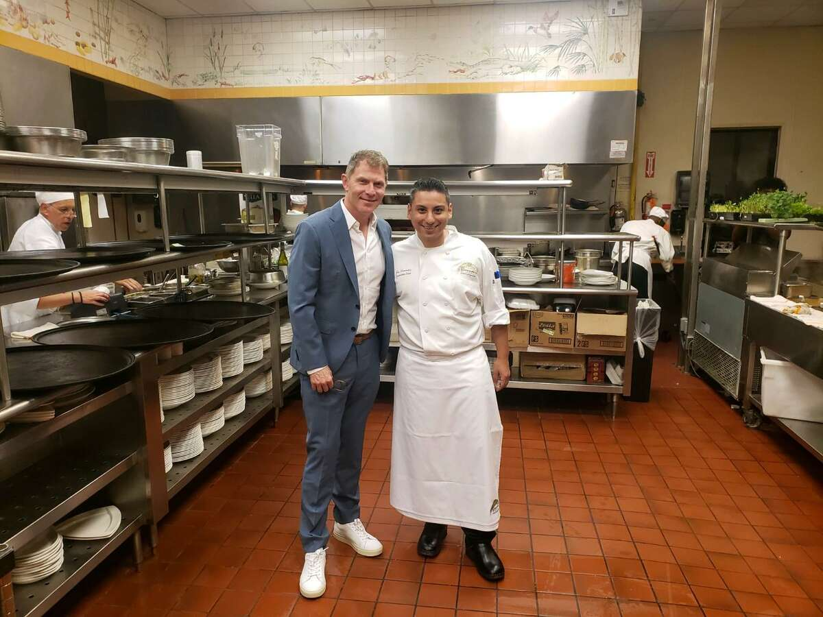 Bobby Flay, pictured with chef Joe Cervantez, enjoyed dinner at Brennan's-Houston over the weekend. >>> See where the celebrities eat in Houston ...