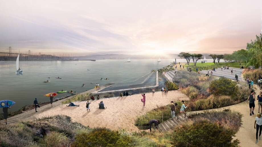 Tidal Shelves at sunrise — At sunrise, shifting ecosystems within the tidal shelves bustle with activity, providing a terraced space for parkgoers to access the water for an early-morning kayak expedition or just a calm morning on the beach. The Bay Trail, which hugs this feature, offers direct access to a 500-mile trail connecting 47 cities. Photo: Scape Studio