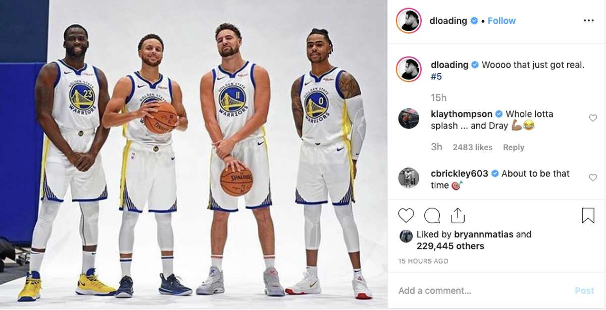 Draymond Green, Stephen Curry, Klay Thompson and D'Angelo Russell at Warriors media day.