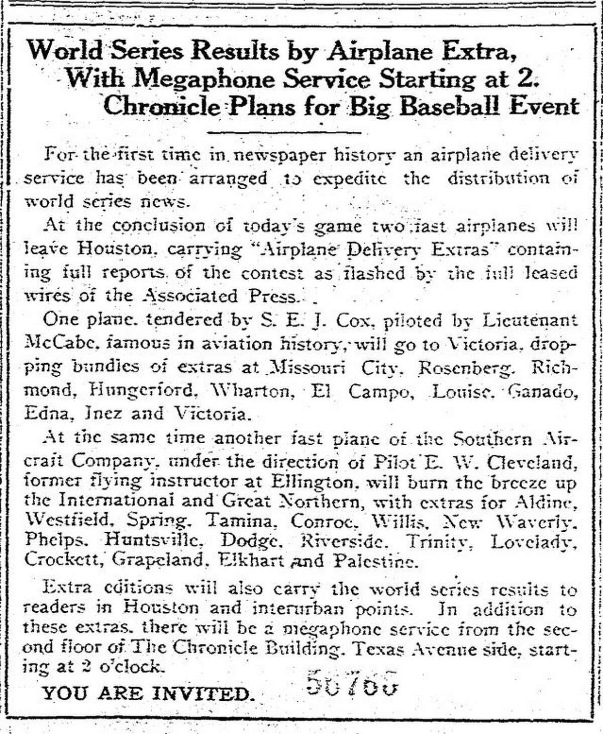 Houston Chronicle announcement regarding World Series extra deliveries on Oct. 1, 1919.