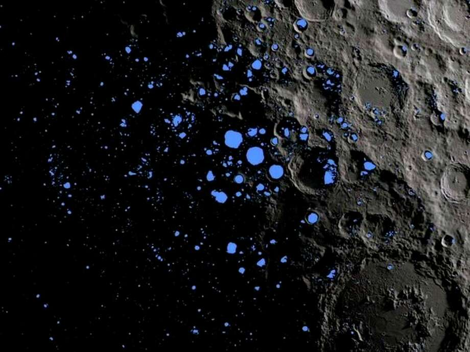 Permanently shadowed regions, shown in blue, cover about3%of the moon's south pole, and should be good places to find water ice. (Photo provided/NASA Goddard/LRO mission)